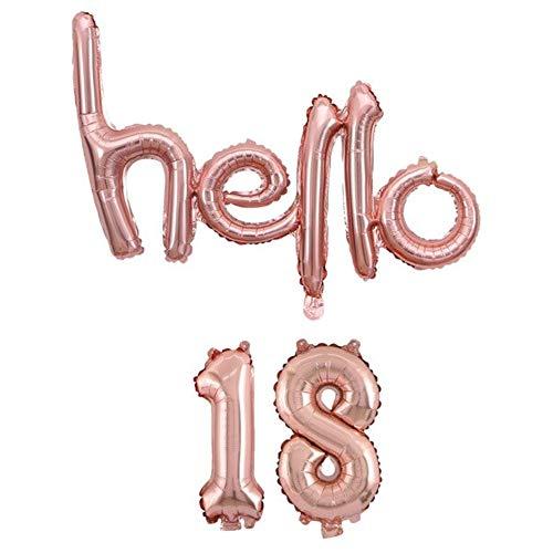 DIWULI, hello 18 ballon, rosé goud, cijferballon, letterballonnetje, cijferballonnen, folieballonnen nummer geen jaar, folieballonnen, 18e verjaardag, feestje, decoratie, geschenkdecoratie