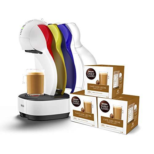 Pack DeLonghi Dolce Gusto Colors EDG355.W1 - Cafetera de cápsulas, 15 bares de presión, color blanco + 3 packs de café Dolce Gusto Café Con Leche