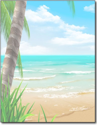 Island Paradise Beach Stationery Paper - 100 sheets - Tropical Beach Letterhead Themed Printer Paper