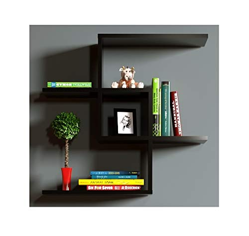 CHAIN Mensola da muro - Mensola Parete - Mensola Libreria - Scaffale pensile per studio / soggiorno in Design moderno (Nero)