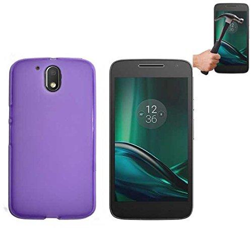 Todobarato24h Funda TPU Lisa Motorola Moto G4 Plus Morada + Protector DE Cristal Templado