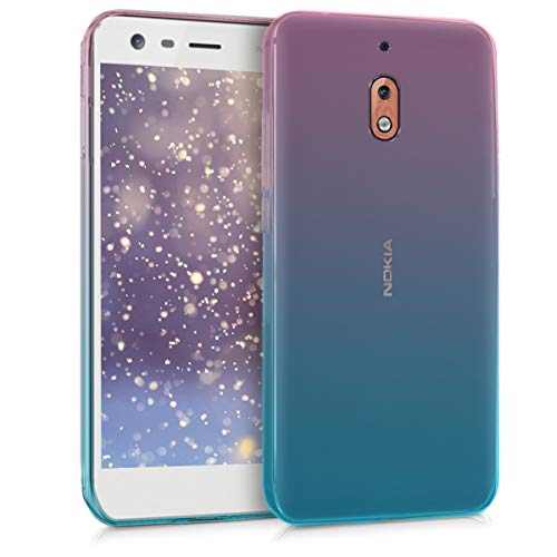 kwmobile Étui de Protection Compatible avec Nokia 2.1 (2018) - Coque Souple en Gel Silicone - Dégradé Transparent - Tons Pastel Fuchsia-Bleu-Transparent