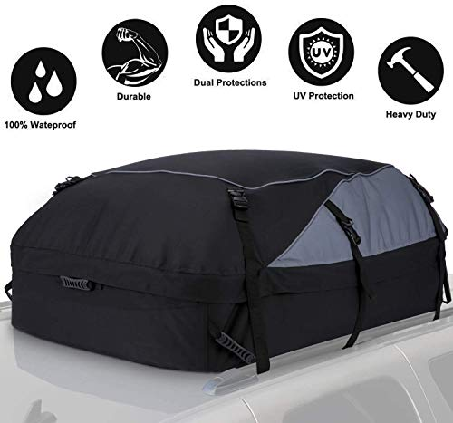 20 Cubic Feet Thickened Car Cargo Roof Bag- Waterproof Universal Soft Rooftop Bag Luggage Carriers for Car with/Without Racks