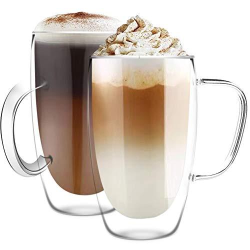 [6 unidades, 15 onzas] Diseño•MASTER-Premium doble pared aislada vidrio con asa, tazas de café o té, vidrio térmico aislado, perfecto para latte, capuchino, americano y té