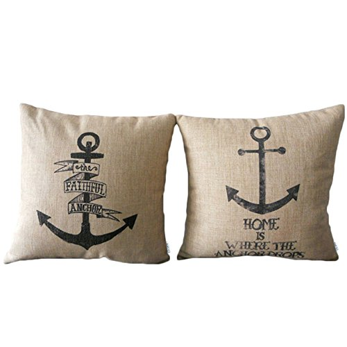 Elviros Dekorativ Baumwoll Leinen Mix Kissenbezug 45 x 45cm-Anchor [Set of 2]