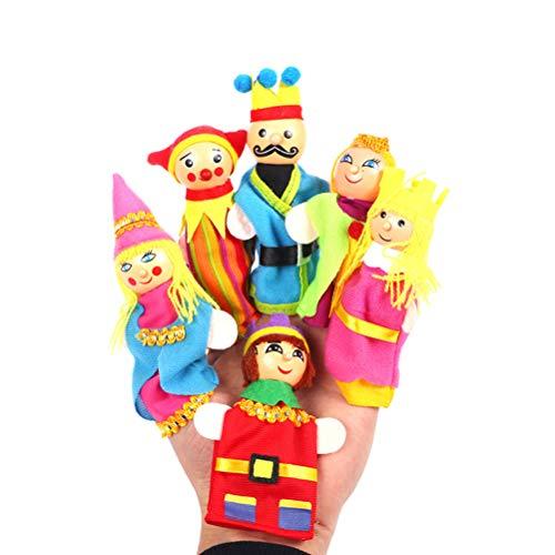 Toyvian Marionette da Dito in Legno di Alta qualità Fiaba Nursery Rhymes Personaggi, Famiglia e Kingdom Hand Dolls for Children Story Time (6pcs / Set)