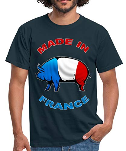 Cochon Tricolore Made in France T-Shirt Homme, S, Marine
