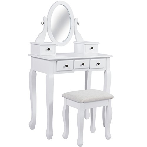 Best Choice Products Bedroom Vanity Hair Dressing Table Set for Makeup