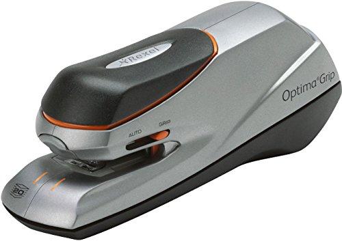 Rexel Optima Grip - Grapadora eléctrica, color plateado