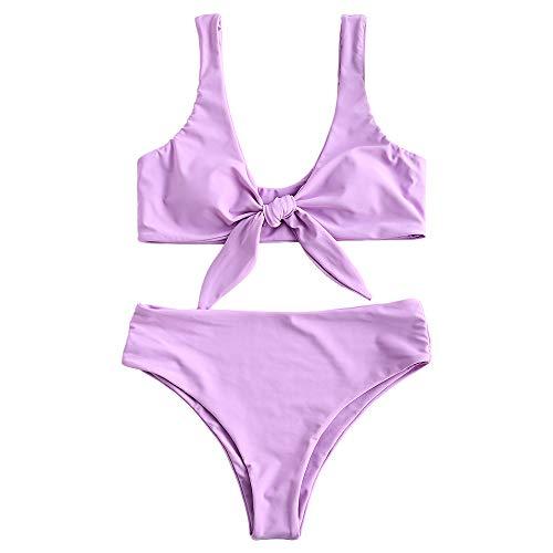 ZAFUL Womens Solid Color Strap Padded Front Knot Bikini Set (M, Mauve)
