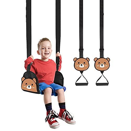 MiduoHu Columpio Infantil de Exterior Asiento de Columpio de Anillo Combinación de Oxford con Cuerda Antideslizante para Niños de de Jardín Patio de Recreo (Color : Bear (Swing+Pull Ring))