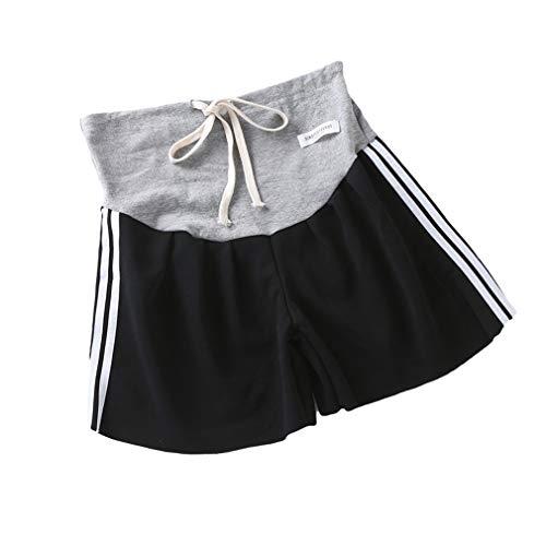 Pantalones Cortos de Maternidad Mujer Raya Shorts de Deportivos Casual Verano Sección Delgada Pantalones Cortos de Embarazadas Suave Confortable Pantalones Cortos de Premamá