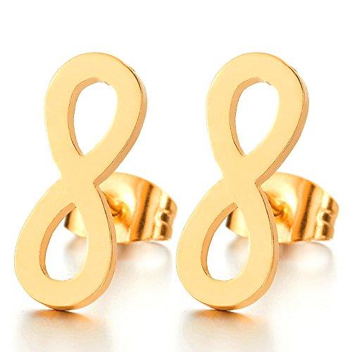 Color Oro Amor Infinito Número 8 Pendientes...