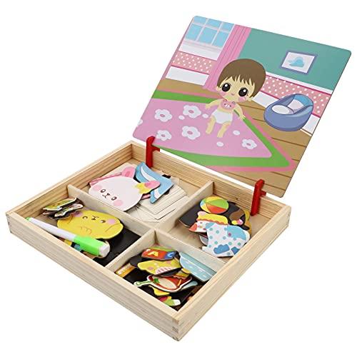 ABOOFAN Jigsaw Puzzle Brinquedo Magnético Magnético Enigma Desenho Da Criança Quebra- Cabeças De Madeira Puzzle Brinquedos Educativos Vestir Brinquedos Brinquedos De Viagem para Crianças