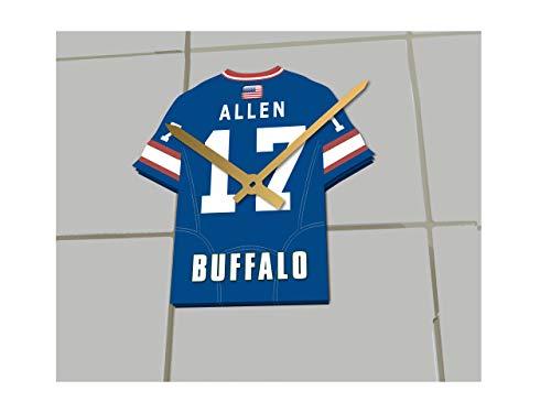 MyShirt123 NFL American Football – Team-Trikot Uhr – jeder Name und jede Nummer, Buffalo Bills NFL Jersey, 19.5CM X 18CM X 0.5CM