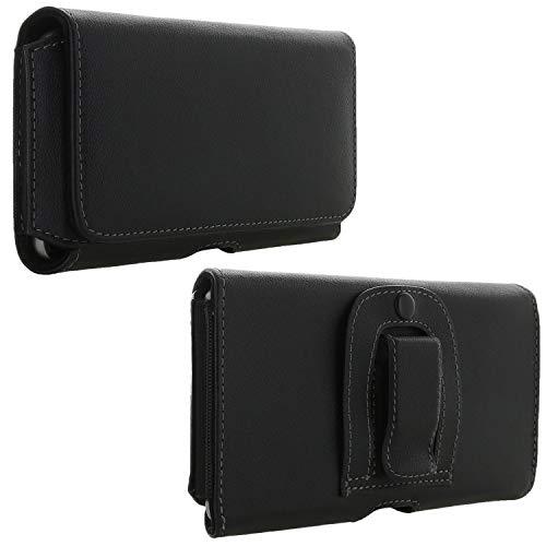 XiRRiX Handy Gürteltasche mit Clip - 6.1 4XL Tasche passend für Huawei Honor 7X / P30 Lite / Y6 2019 / Motorola Moto G7 Plus / E6s / LG K40s / Samsung Galaxy A10 M20 / S10 Plus - Handytasche schwarz