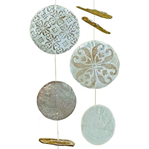 Home Collection 2er Set sort. Capiz Girlande Windspiel L120cm grau Perlmutt mit Ornamenten