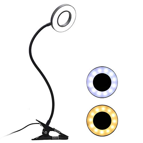 Lixada Lámpara LED Escritorio con Pinza Flexo con Clip Lámpara de Mesa USB Protección de los Ojos Luz LED Lámpara de Lectura Flexible para Arte de Uñas Lectura de Tatuajes Belleza Maquillaje
