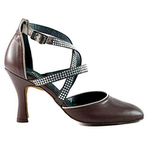 Manuel Reina - Zapatos de Baile Latino Mujer Salsa 4010 Leather Líbano - Bailar Bachata, kizomba (41 EU, Tacón: 7.5)