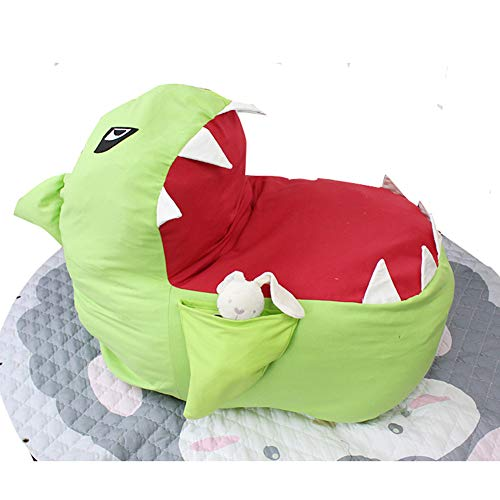 Alician Home Sitzsack in Hai-Form, für Kinderspielzeug, Kleidung grün