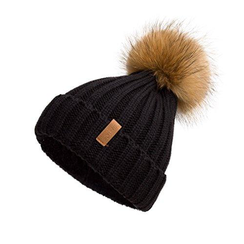 Pilipala Women Winter Knitted Beanie Hat with Fur Pom Bobble Hat Skull Beanie(Black,R)