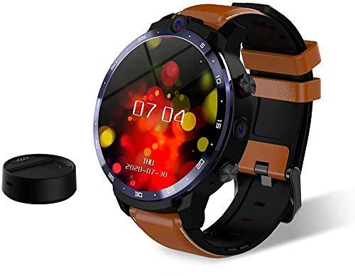 Reloj inteligente Con batería externa dedicada 900 mAh Tarjeta enchufable Soporte de proyección multidispositivo Doble cámara frontal y lateral Negro-Marrón