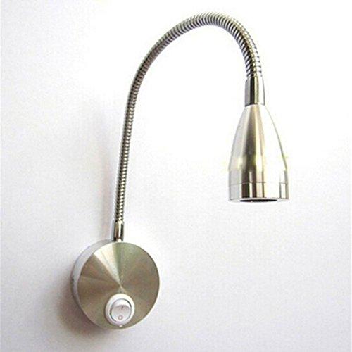 WINOMO Flexarm LED Wand leichte Lektüre LED Licht Nachttischlampe mit Schalter AC 85-265V 3W 360-Grad (warmweiß)