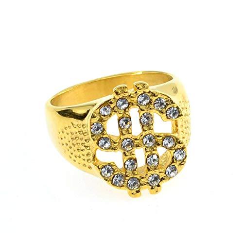 UINGKID Schmuck Damen Ring Europa und die Vereinigten Staaten New Diamond Jewelry Dollarzeichen Hip Hop Herren