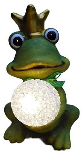 Otte sitzender Froschkönig mit Krone & LED Kugel 16 x 10 cm Quack Frosch Tier Figur Deko 8358 B