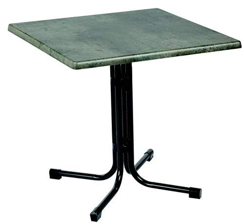 Acamp Gartentisch Piazza eckig | Anthrazit/Cemento Grigio | Größe: 80x80xH72cm | Stahl-Gestell klappbar | Tischplatte aus wetterfester Holzfaserplatte Topalit | Niveauausgleich