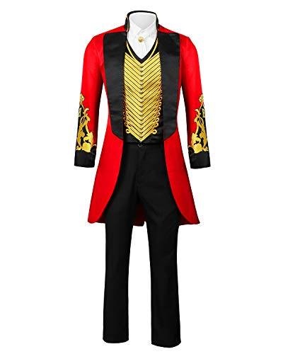 ZhangjiayuanST Disfraz de Hombre Adulto con Anillo de Circo Rojo Master Ringmaster PT Barnum Showman para Cosplay, Uniforme, Fiesta, Chamarra - Negro - Small