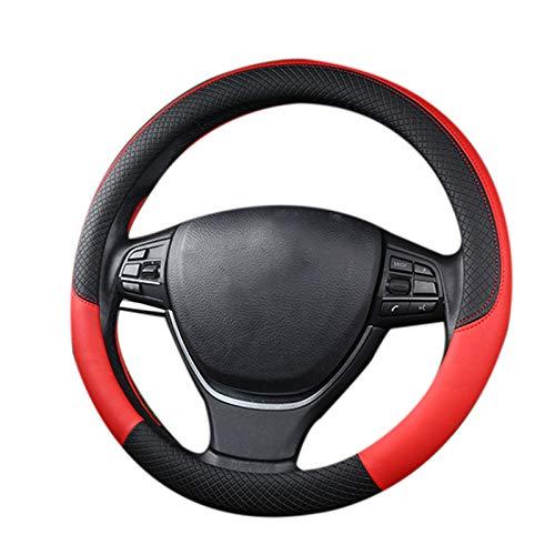 RETYLY Leder Universal Auto Lenkrad Abdeckung 38 cm Auto Styling Sport Auto Lenkrad Bezüge Anti-Rutsch Auto Zubeh?r Schwarz und Rot