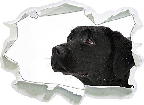 Labrador Noir de la Taille de l'autocollant de Neige, de Mur 3D de Papier: 92x67 cm décoration Murale 3D Stickers muraux Stickers
