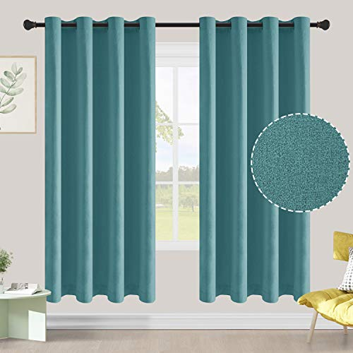 ALLJOY Room Darkening Window Drape for Bedroom Privacy, 2 Panels Thermal Insulated Drapes with Grommet, Soft Window Drape for Kitchen Window, Solid Curtain No Pattern, W42 x L72 inch, Teal
