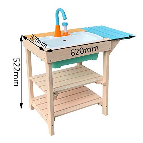 Wiltec Matschküche für Kinder aus Holz mit Spülbecken für Garten, Terrasse und Balkon - 5