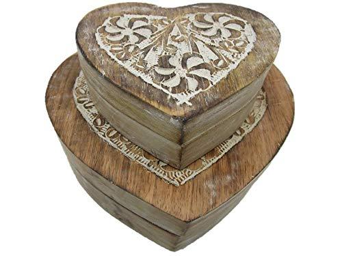 HM60GK Truhe in Herzform Echtholz Holztruhe Schatzkiste Schatztruhe Geschenk Geschenkbox Geburtstagsgeschenk (HM60GK Herz Muster)