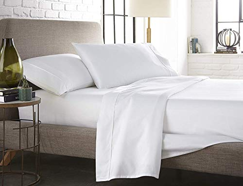 Xuvet Oversized 100% Egyptain Cotton 3Pc Flat Sheets - 132 Inches x 110 Inches (White Solid)