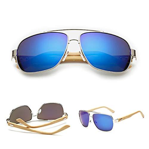 TP+ Gafas de Sol de Madera Retro Vintage Designer Wayfarer Aviator Deportes al Aire Libre UV400 $# (Color : 3)