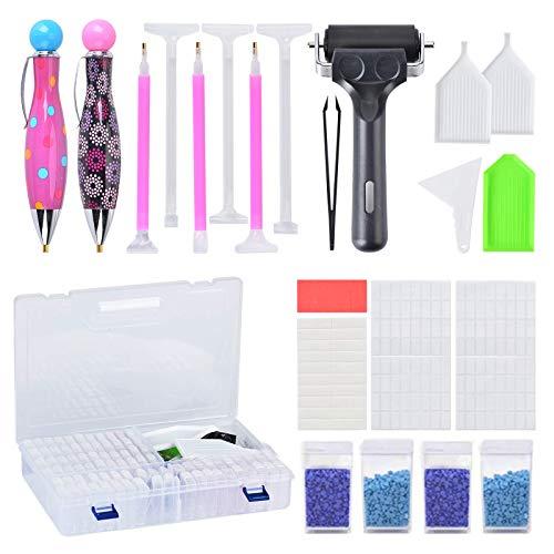 Cozywind 84 Compartimentos Organizador de Pintura de Diamante 5D Kit de Pintura de Diamante Caja de Bordado de Diamantes para Adultos niños Arte DIY Arte