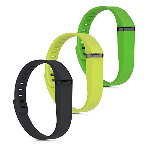 kwmobile 3X Pulsera Compatible con Fitbit Flex - Brazalete de Silicona en Negro/Amarillo/Verde sin Fitness Tracker