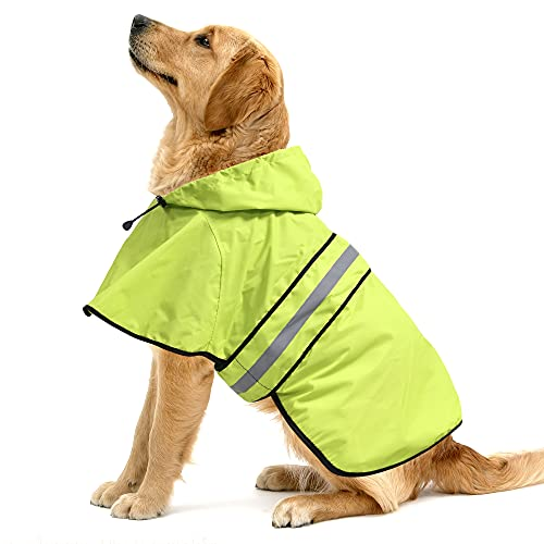 Ezierfy Waterproof Reflective Dog Raincoat- Adjustable Pet Jacket, Lightweight Dog Hooded Slicker Poncho for Small to X- Large Dogs and Puppies (Neon Green, Large)