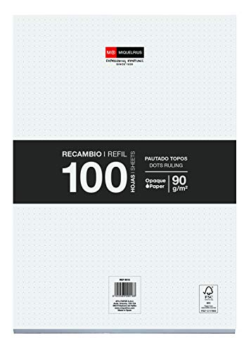 Miquelrius Recambio Hojas Sueltas - 100 Hojas sueltas de Puntos Dots, Tamaño A4, Papel 90 g, Sin Taladros