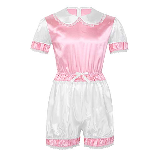 Yeahdor Herren Sissy Dessous Erwachsenen Baby Einteiler Kostüm Strampler Satin Schlafanzug Kurzarm Body Spitzenbody Unterwäsche Rosa Large