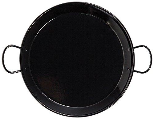 La schaal 36 cm, geëmailleerd roestvrij staal geschikt voor inductie Paella-pan met handgrepen van keramiek, zwart