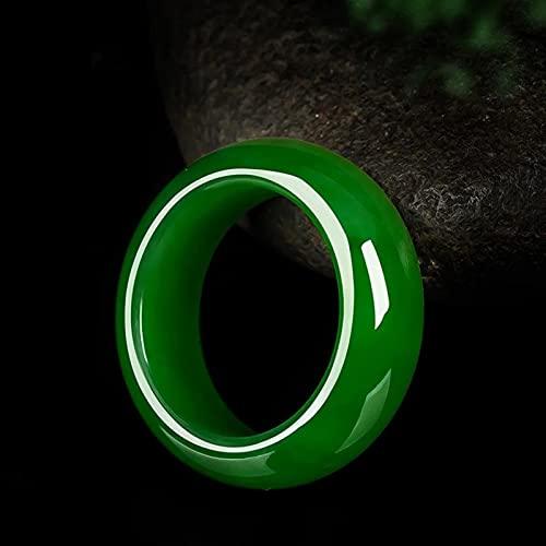YZDKJ Natural Verde Jade Anillo de Piedra Chino Tallado a Mano Charm Joyería Joyería Accesorios de Moda Amuleto para Hombres Mujeres Lucky Regalos (Gem Color : Green, Ring Size : 17)
