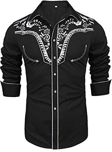 JohnJohnsen Camisas Bordadas de Manga Larga para Hombres Camisa Casual con Botones Ajustados Camisa Regular con Cuello de Punto estándar (Negro)