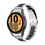 Correa Reloj 20mm Compatible con Galaxy Watch 4 44mm/40mm y Galaxy Watch 4 Classic 46mm/42mm,Correa de Reloj Metal Acero Inoxidable,Pulsera Galaxy Watch 4,Plata + Negro