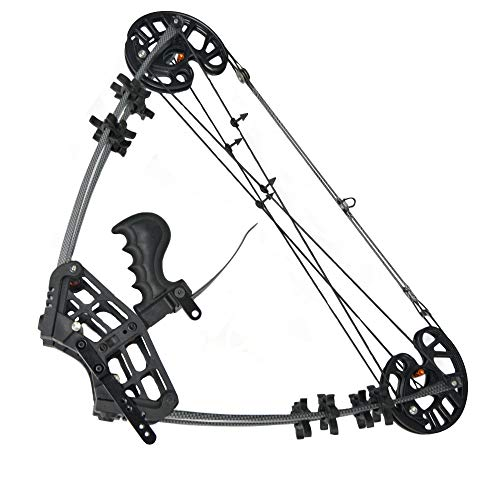 NMCPY Archery Compound Bows Kit Dual-Purpose 50lbs Triangle Bow Catapult Steel Ball Compound Bow for Outdoor Hunting Fishing (Black)