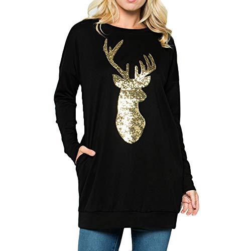 MRULIC Weihnachten Damen Langarm T-Shirt Elch Druck Rundhals Sweatshirt Basic Tops Bluse Shirt Pullover Festliches Kostüm 01(C-Schwarz,EU-44/CN-2XL)