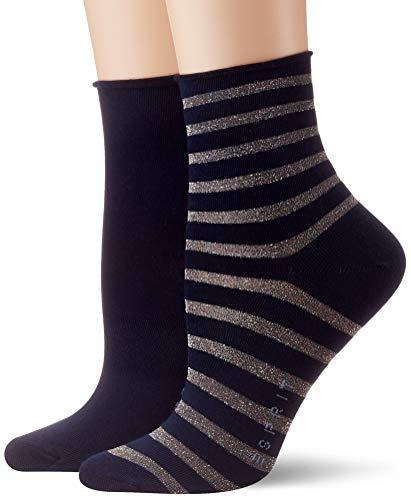 ESPRIT Damen Socken Luminous Stripe 2er Pack - Baumwollmischung, 2 Paare, Blau (Marine 6120), Größe: 39-42